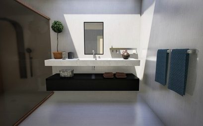 miroir connecte dans une salle de bain